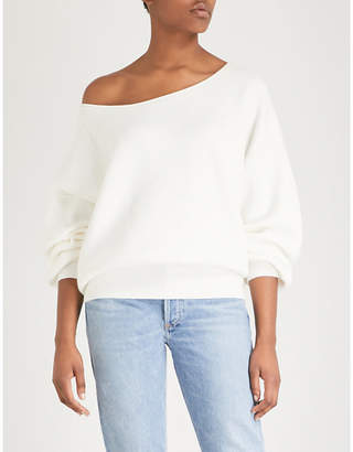 Free People Shadow asymmetric-neck knitted jumper