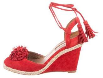 Aquazzura Sunshine Fringe-Accented Wedges