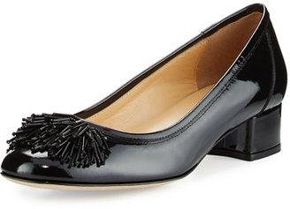 Sesto Meucci Flynn Ornament Patent Low-Heel Pump, Black $270 thestylecure.com