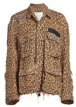R 13 Shredded Leopard Print Abu Jacket