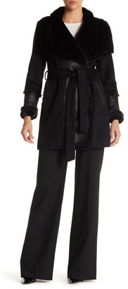 DKNY Faux Fur Wool Blend Belted Coat $340 thestylecure.com
