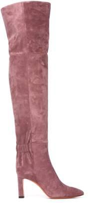 Santoni Heel Boots In Powder Pink Suede