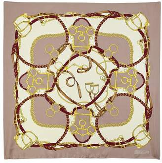 Aspinal of London Horseshoe Silk Scarf In Soft Taupe And Gold