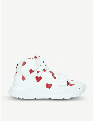 Burberry Regis heart-print leather trainers