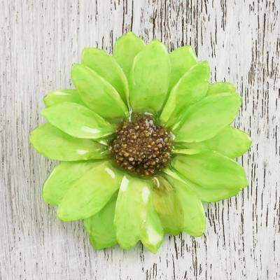 Aster Delight in Green Resin Dipped Green Real Chrysanthemum Brooch from Thailand