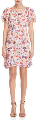 Yumi Swirl Floral Crinkle Dress