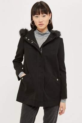 Topshop Hooded Faux Fur Trim Coat