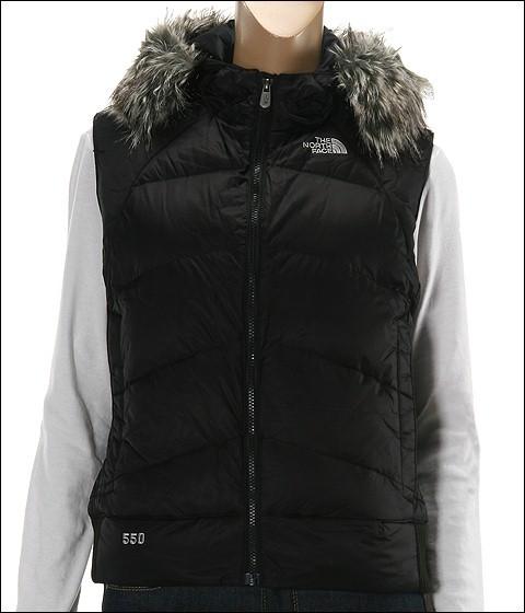 The North Face - Women's Vegas Vest 09 (Black (Grey Faux Fur))