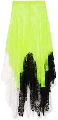 Christopher Kane Asymmetric Color-block Lace Midi Skirt - Chartreuse