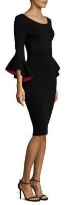 Milly Contrast Bell-Sleeve Sheath Dress