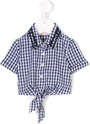 Miss Blumarine gingham tied shirt
