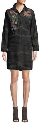 Johnny Was Tyrell Collared Camo Tunic Dress