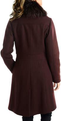 Rachel Roy Sherpa Bodice Wool Coat with Faux-Fur Collar
