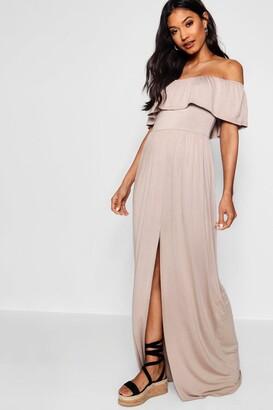 boohoo Ruffle Bandeau Slip Front Maxi Dress