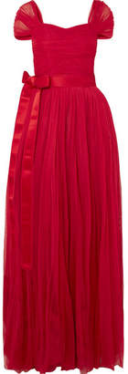 Dolce & Gabbana Belted Silk-chiffon Gown - Red