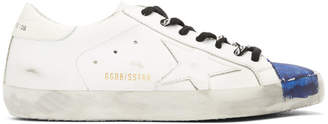 Golden Goose White and Blue Stripe Superstar Sneakers