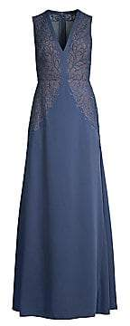 BCBGMAXAZRIA Women's Embroidered Lace A-Line Gown