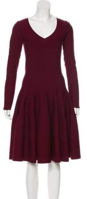 Alaia Wool-Blend Long Sleeve Dress