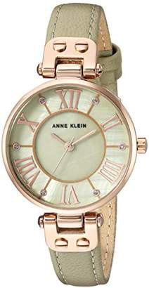 Anne Klein Women's AK/2718RGSA Glitter-Accented Rose Gold-Tone and Sage Green Leather Strap Watch