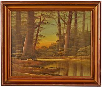 Rejuvenation Framed Landscape Painting w/ Trees and Lake