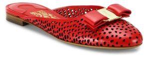 Salvatore Ferragamo Emile Laser-Cut Leather Flat Slides $595 thestylecure.com
