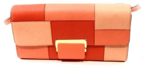 Michael Kors MICHAEL Womens Cynthia Leather Colorblock Clutch Handbag - PINKS - STYLE