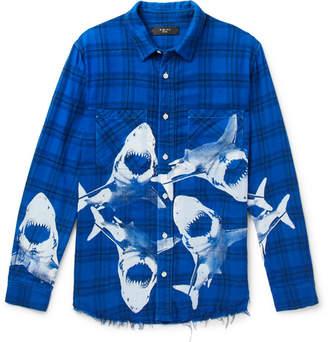 Amiri Slim-Fit Distressed Printed Checked Cotton-Flannel Shirt