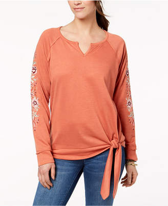 Style&Co. Style & Co Embroidered Tie-Hem Top, Created for Macy's