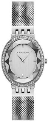 BCBGMAXAZRIA Ladies Silver Tone Mesh Bracelet Watch with Silver Dial, 35MM