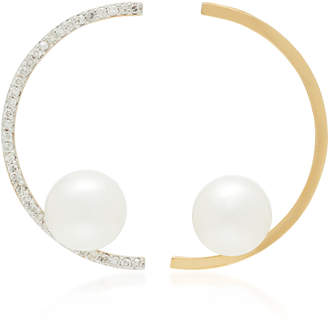 Mateo 14K Gold Diamond And Pearl Earrings