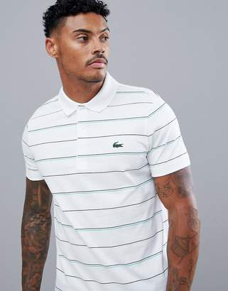 Lacoste Sport multi stripe polo in white