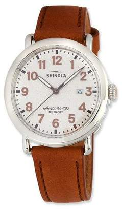 Shinola Men's 41mm The Runwell 3HD Watch w/ Statue of Liberty Back & Leather Strap