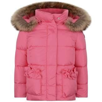 Il Gufo Il GufoGirls Pink Down Coat With Fur Trim