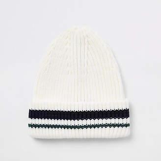 River Island Cream stripe knit fisherman beanie hat