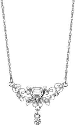 1928 Silver Tone Crystal Filigree Necklace