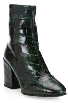 Dries Van Noten Crocodile Pattern Leather Booties