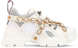 Gucci 60mm Flashtrek Leather & Mesh Sneakers