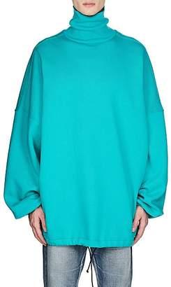 Balenciaga Men's Cotton-Blend Fleece Oversized Turtleneck Sweatshirt - Lt. Blue
