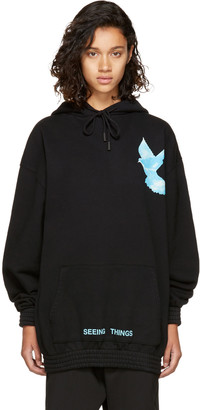 Off-White Black Oversized 'Not Real' Dove Hoodie $560 thestylecure.com