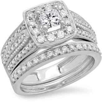 DazzlingRock Collection 1.25 Carat (ctw) 14K White Gold Princess & Round Diamond Halo Engagement Ring Set 1 1/4 CT (Size 8.5)
