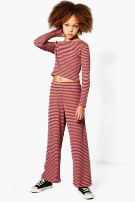 boohoo Girls Rib Long Sleeve Crop Top & Trouser Set