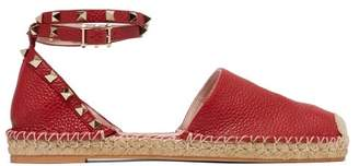 Valentino Rockstud Wraparound Strap Leather Espadrille Flats - Womens - Red