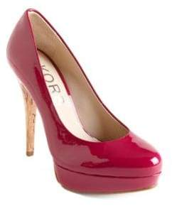KORS Cyprien Patent Leather Cork Heel Pumps