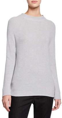 Eileen Fisher Plus Size Organic Cotton/Silk Funnel-Neck Sweater