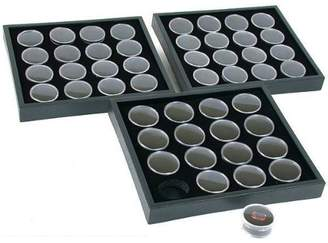 FindingKing 3 16 Black Gem Jars Display & Stackable Tray