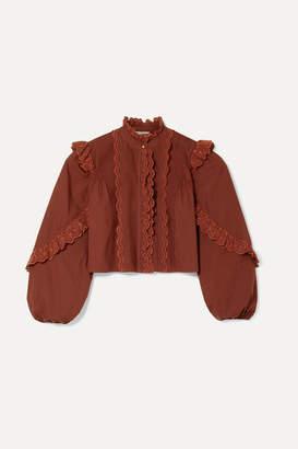 Ulla Johnson Adelaide Ruffled Broderie Anglaise-trimmed Cotton-poplin Shirt - Burgundy