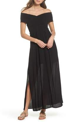 Elan International Smocked Off-the-Shoulder Cover-Up Maxi Dress