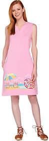 Denim & Co. Beach Sleeveless Cover Up Dress w/Beach Scene
