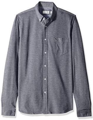 Lacoste Men's Long Sleeve Pocket Textured Jersey Slim Woven Shirt