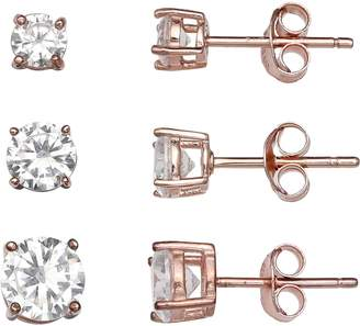 11572adf3 Primrose PRIMROSE 14k Rose Gold Over Silver 3-Pair Cubic Zirconia Stud  Earring Set